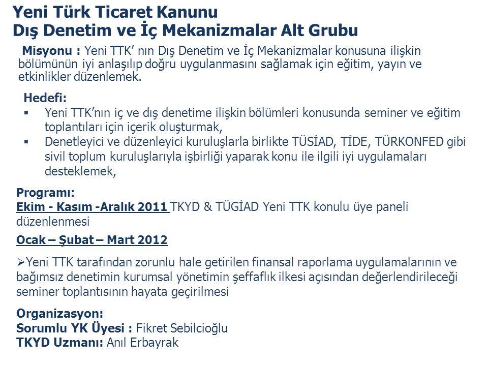 Yeni Türk Ticaret Kanunu Dış Denetim ve İç Mekanizmalar Alt Grubu Misyonu : Yeni TTK' nın Dış Denetim ve İç Mekanizmalar konusuna ilişkin bölümünün iy