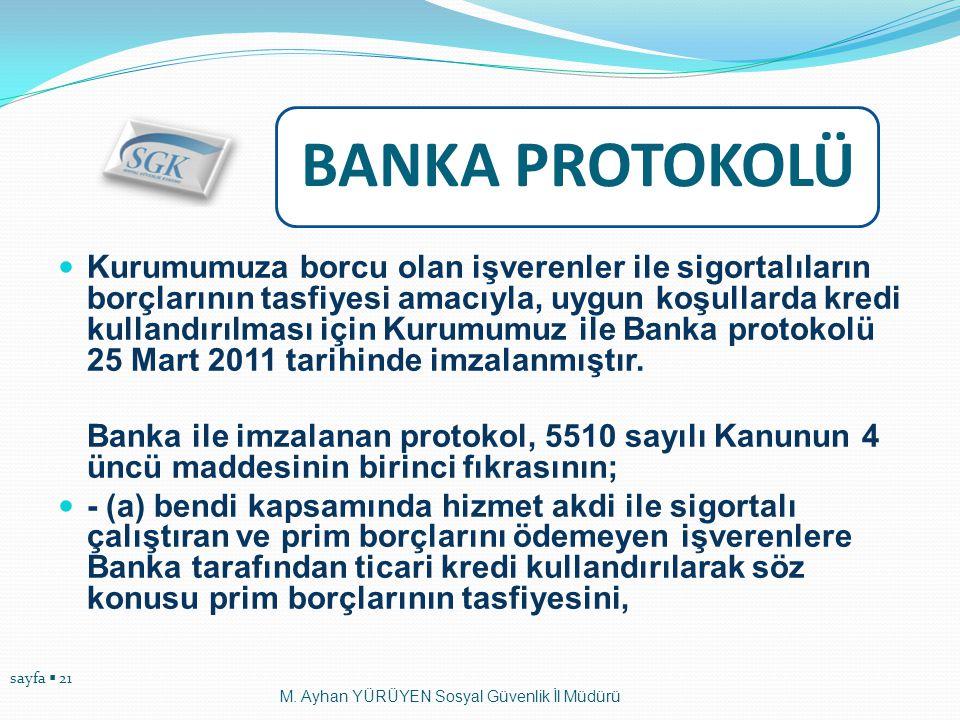 sayfa  21 BANKA PROTOKOLÜ  Kurumumuza borcu olan işverenler ile sigortalıların borçlarının tasfiyesi amacıyla, uygun koşullarda kredi kullandırılmas