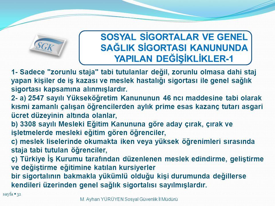 sayfa  32 M. Ayhan YÜRÜYEN Sosyal Güvenlik İl Müdürü SOSYAL SİGORTALAR VE GENEL SAĞLIK SİGORTASI KANUNUNDA YAPILAN DEĞİŞİKLİKLER-1 1- Sadece