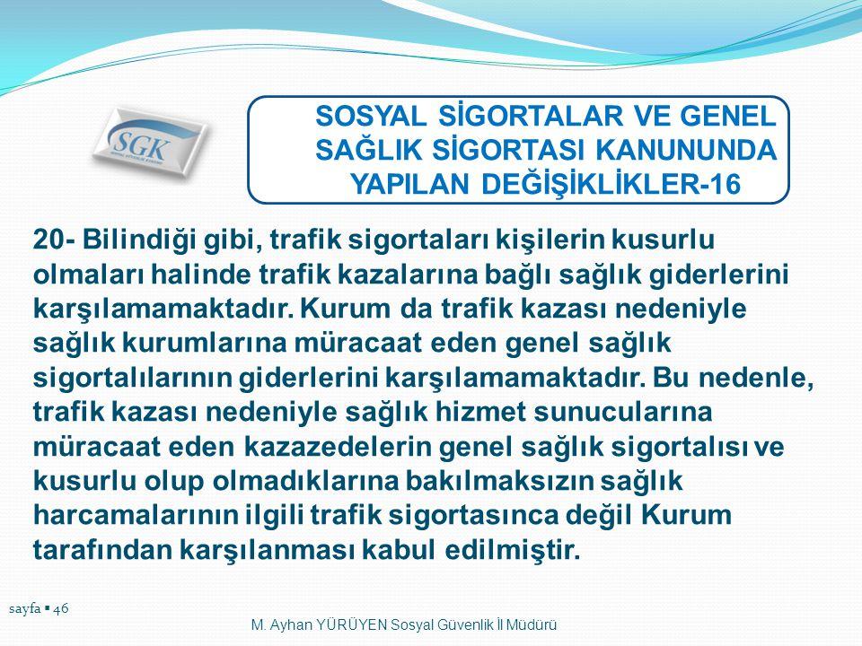 sayfa  46 M. Ayhan YÜRÜYEN Sosyal Güvenlik İl Müdürü SOSYAL SİGORTALAR VE GENEL SAĞLIK SİGORTASI KANUNUNDA YAPILAN DEĞİŞİKLİKLER-16 20- Bilindiği gib
