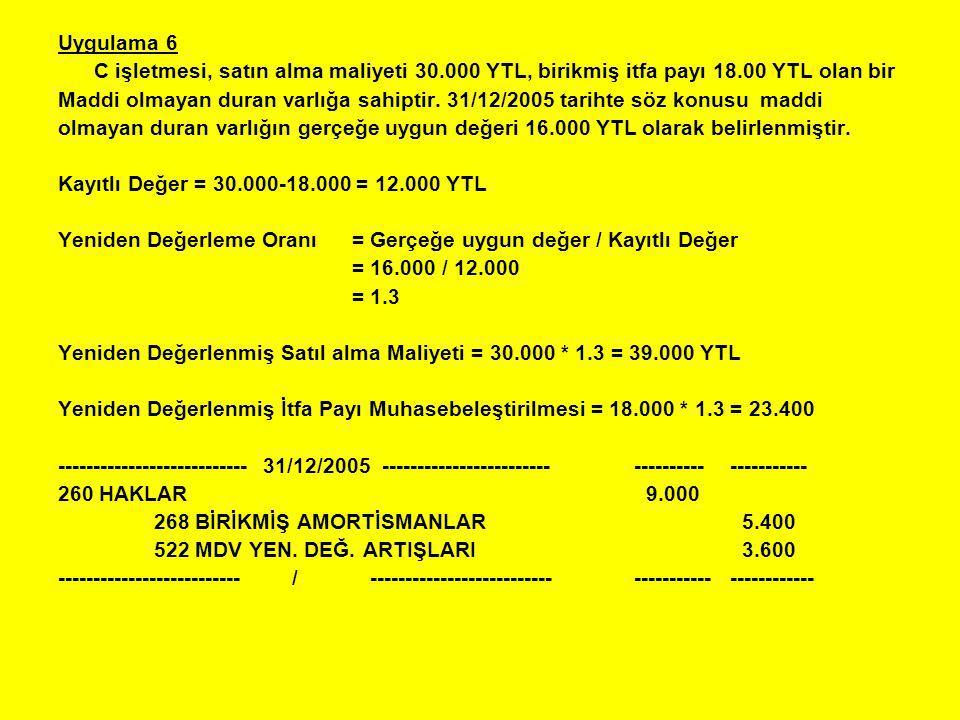 Uygulama 6 C işletmesi, satın alma maliyeti 30.000 YTL, birikmiş itfa payı 18.00 YTL olan bir Maddi olmayan duran varlığa sahiptir. 31/12/2005 tarihte