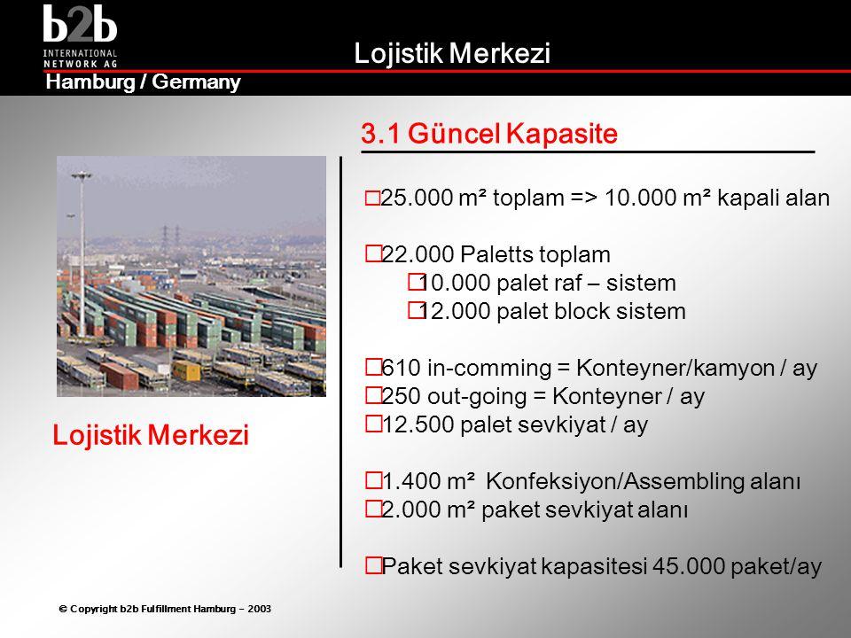 Lojistik Merkezi © Copyright b2b Fulfillment Hamburg - 2003 Lojistik Merkezi Hamburg / Germany 3.1 Güncel Kapasite  25.000 m² toplam => 10.000 m² kapali alan  22.000 Paletts toplam  10.000 palet raf – sistem  12.000 palet block sistem  610 in-comming = Konteyner/kamyon / ay  250 out-going = Konteyner / ay  12.500 palet sevkiyat / ay  1.400 m² Konfeksiyon/Assembling alanı  2.000 m² paket sevkiyat alanı  Paket sevkiyat kapasitesi 45.000 paket/ay