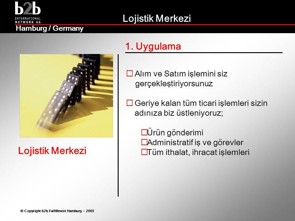 Lojistik Merkezi © Copyright b2b Fulfillment Hamburg - 2003 Lojistik Merkezi Hamburg / Germany 2.9 Outsourcing  Yüksek kazan ç  Maximum verim  Yeni kapasite yaratma  Ana faaliyet alanında yoğunlaşma