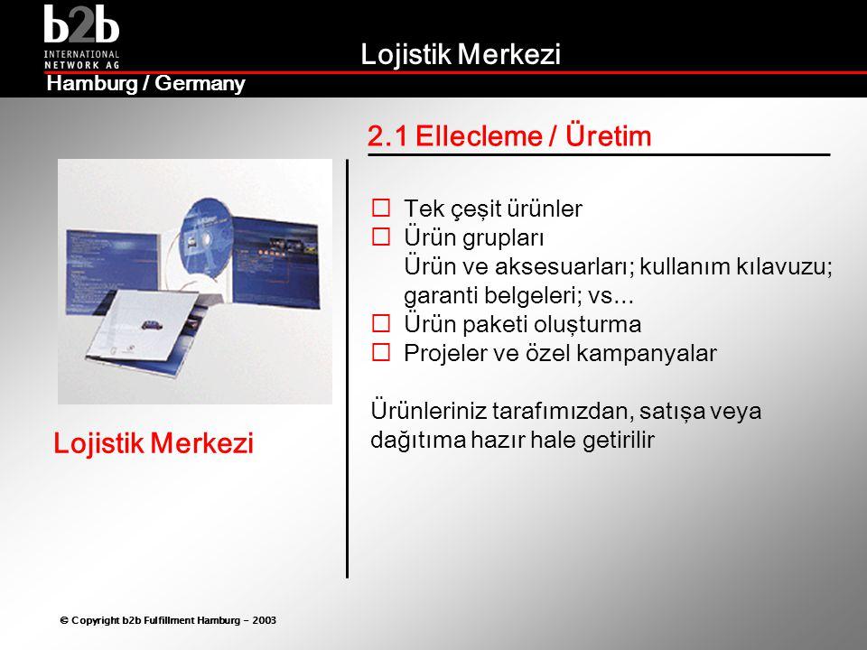 Lojistik Merkezi © Copyright b2b Fulfillment Hamburg - 2003 Lojistik Merkezi Hamburg / Germany 2.2 Paketleme / Ambalaj  Her türlü ürününüz:  En uygun formatta  En düşük maliyetle  Müşteri talepleri doğrultusunda  İlgili ülkenin şartları ve standartlarına göre...en uygun şekilde paketlenir ve transport için hazır hale getirilir.