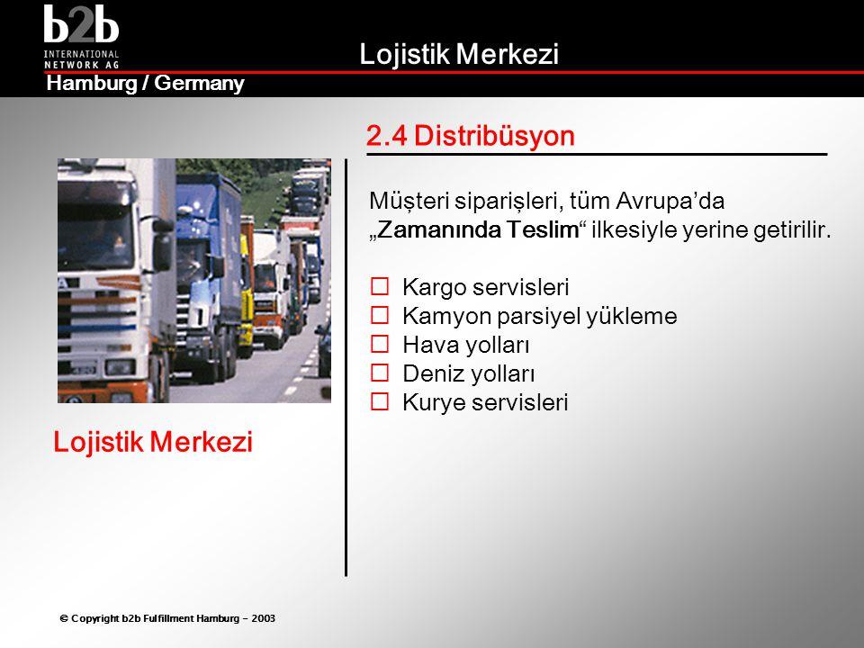 """Lojistik Merkezi © Copyright b2b Fulfillment Hamburg - 2003 Lojistik Merkezi Hamburg / Germany 2.4 Distribüsyon Müşteri siparişleri, tüm Avrupa'da """"Zamanında Teslim ilkesiyle yerine getirilir."""
