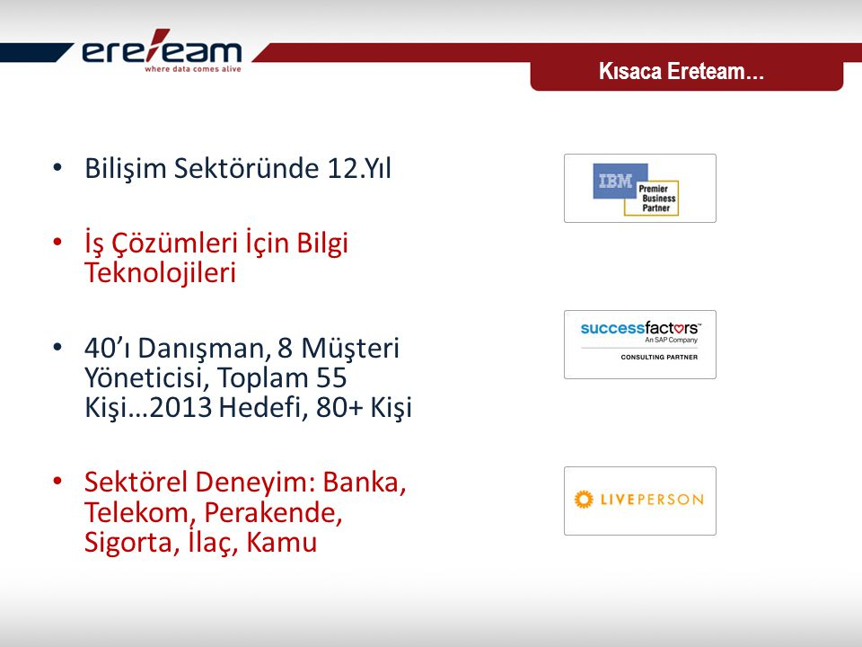• Bilişim Sektöründe 12.Yıl • İş Çözümleri İçin Bilgi Teknolojileri • 40'ı Danışman, 8 Müşteri Yöneticisi, Toplam 55 Kişi…2013 Hedefi, 80+ Kişi • Sektörel Deneyim: Banka, Telekom, Perakende, Sigorta, İlaç, Kamu Kısaca Ereteam…