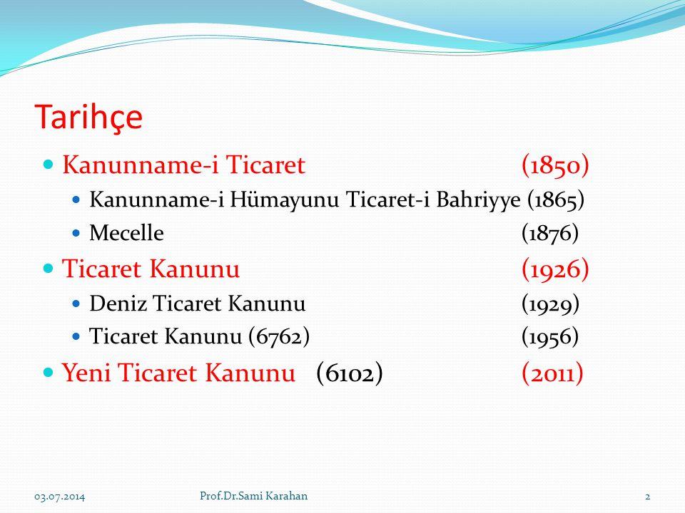 Tarihçe  Kanunname-i Ticaret (1850)  Kanunname-i Hümayunu Ticaret-i Bahriyye (1865)  Mecelle (1876)  Ticaret Kanunu (1926)  Deniz Ticaret Kanunu