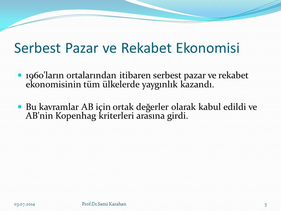 Serbest Pazar ve Rekabet Ekonomisi  1960'ların ortalarından itibaren serbest pazar ve rekabet ekonomisinin tüm ülkelerde yaygınlık kazandı.  Bu kavr