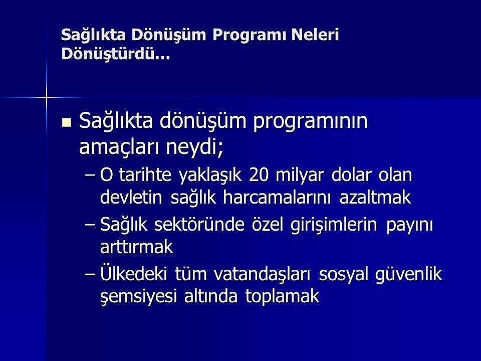 Sağlıkta Dönüşüm Programı Neleri Dönüştürdü…  Neler yapıldı; –SSK, ES ve Bağ-Kur SGK adı altında birleştirildi.