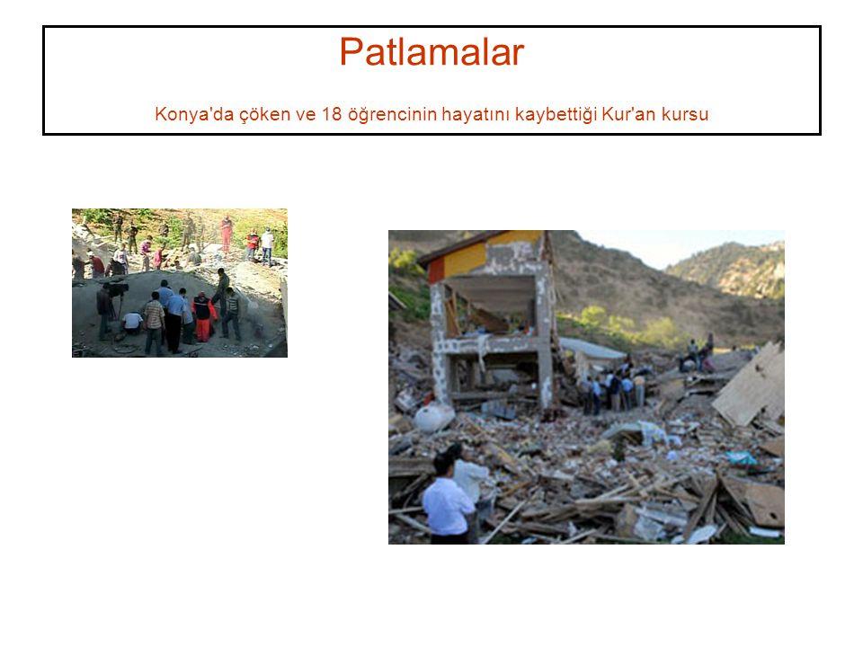 Patlamalar Konya'da çöken ve 18 öğrencinin hayatını kaybettiği Kur'an kursu