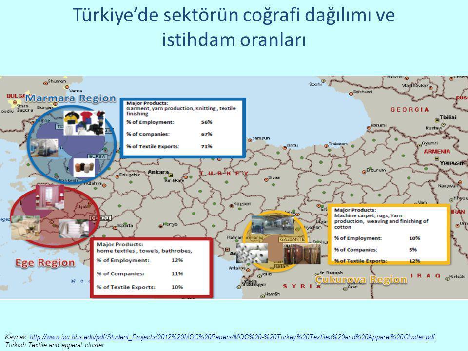 Türkiye'de sektörün coğrafi dağılımı ve istihdam oranları Kaynak: http://www.isc.hbs.edu/pdf/Student_Projects/2012%20MOC%20Papers/MOC%20-%20Turkey%20T