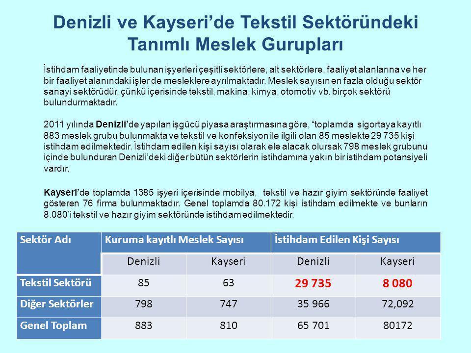 Denizli ve Kayseri'de Tekstil Sektöründeki Tanımlı Meslek Gurupları Sektör AdıKuruma kayıtlı Meslek Sayısıİstihdam Edilen Kişi Sayısı DenizliKayseriDe