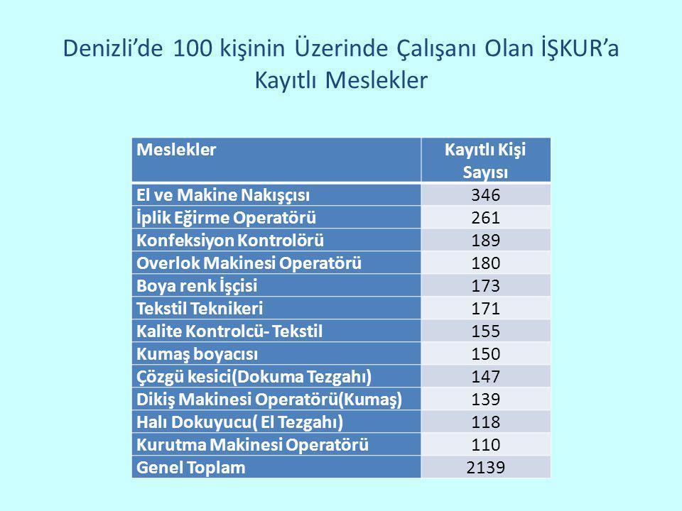 Denizli'de 100 kişinin Üzerinde Çalışanı Olan İŞKUR'a Kayıtlı Meslekler MesleklerKayıtlı Kişi Sayısı El ve Makine Nakışçısı346 İplik Eğirme Operatörü2