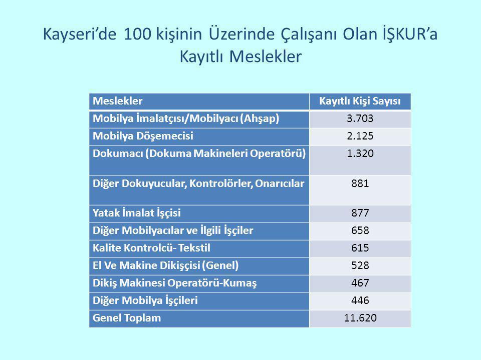 Kayseri'de 100 kişinin Üzerinde Çalışanı Olan İŞKUR'a Kayıtlı Meslekler MesleklerKayıtlı Kişi Sayısı Mobilya İmalatçısı/Mobilyacı (Ahşap)3.703 Mobilya