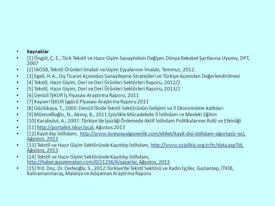 • Kaynaklar • [1] Öngüt, Ç. E., Türk Tekstil ve Hazır Giyim Sanayiniinin Değişen Dünya Rekabet Şartlarına Uyumu, DPT, 2007 • [2] İAOSB, Tekstil Ürünle
