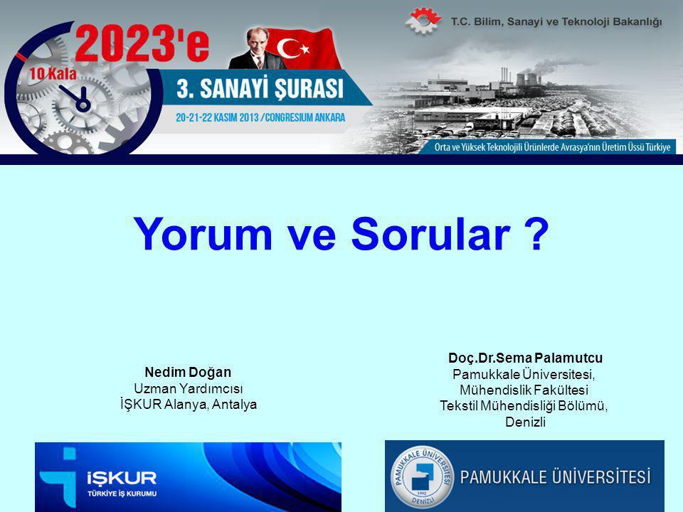 Yorum ve Sorular ? Doç.Dr.Sema Palamutcu Pamukkale Üniversitesi, Mühendislik Fakültesi Tekstil Mühendisliği Bölümü, Denizli Nedim Doğan Uzman Yardımcı