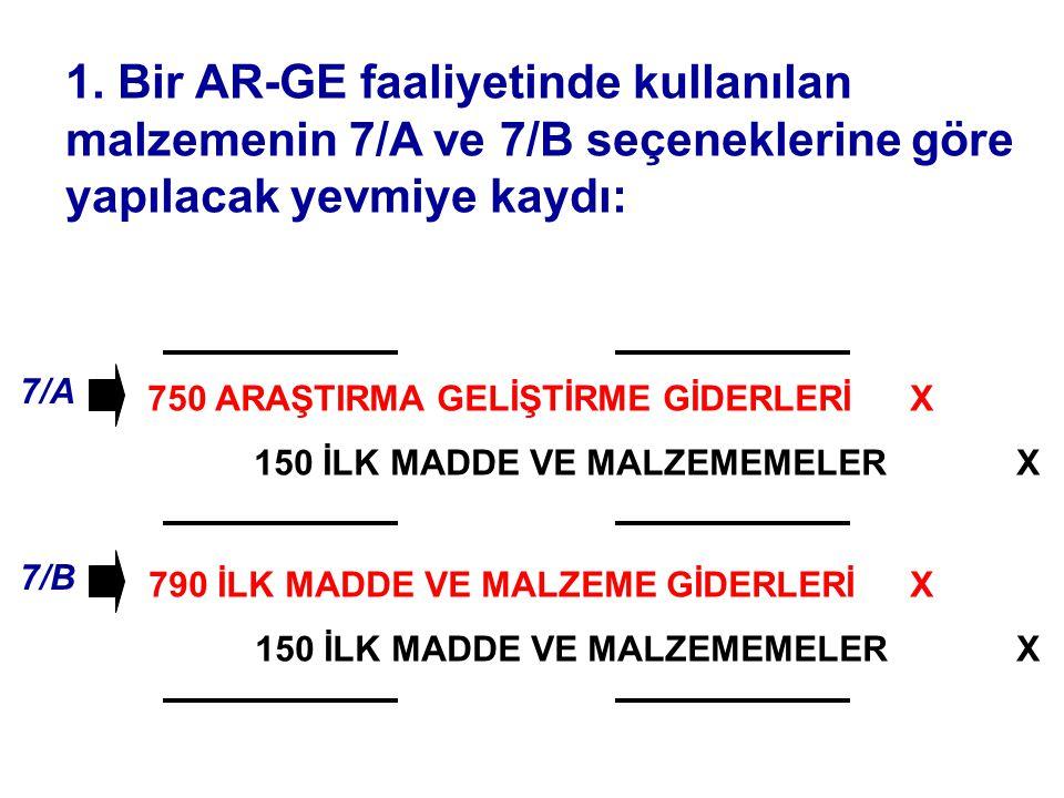 750 ARAŞTIRMA GELİŞTİRME GİDERLERİ 150 İLK MADDE VE MALZEMEMELER 1. Bir AR-GE faaliyetinde kullanılan malzemenin 7/A ve 7/B seçeneklerine göre yapılac
