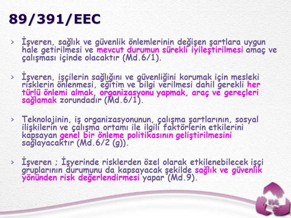 89/391/EEC >İşveren, sağlık ve güvenlik önlemlerinin değişen şartlara uygun hale getirilmesi ve mevcut durumun sürekli iyileştirilmesi amaç ve çalışma