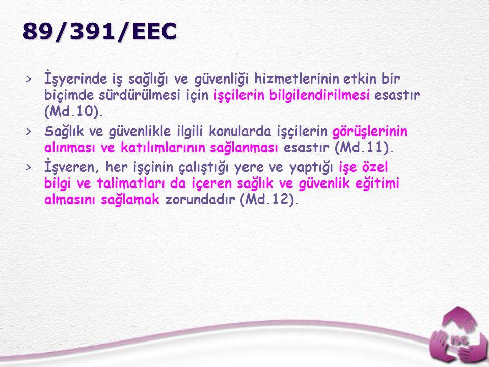 89/391/EEC >İşyerinde iş sağlığı ve güvenliği hizmetlerinin etkin bir biçimde sürdürülmesi için işçilerin bilgilendirilmesi esastır (Md.10). >Sağlık v