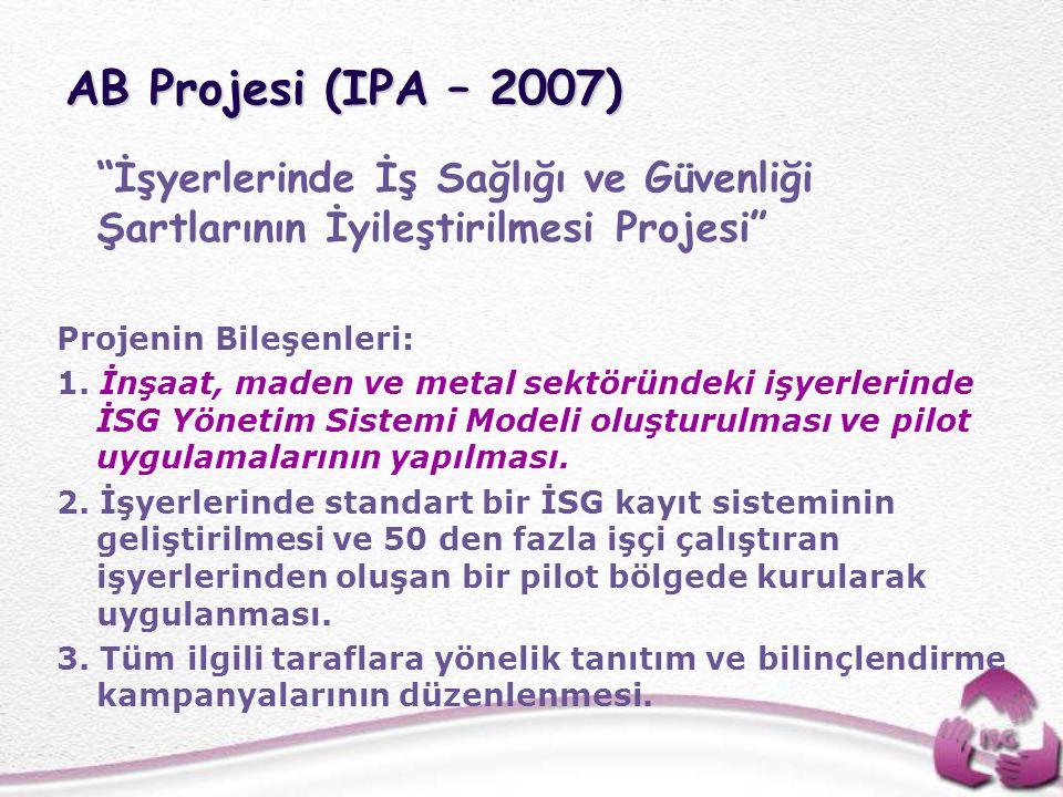 """AB Projesi (IPA – 2007) """"İşyerlerinde İş Sağlığı ve Güvenliği Şartlarının İyileştirilmesi Projesi"""" Projenin Bileşenleri: 1. İnşaat, maden ve metal sek"""