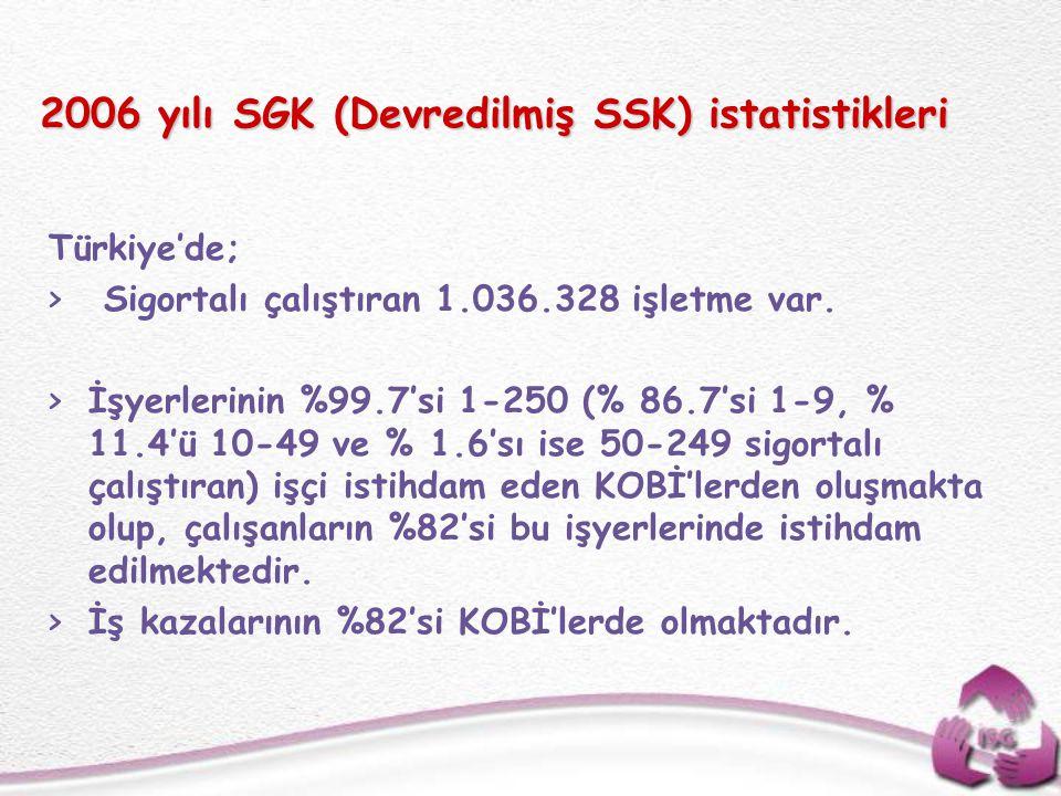 2006 yılı SGK (Devredilmiş SSK) istatistikleri Türkiye'de; > Sigortalı çalıştıran 1.036.328 işletme var. >İşyerlerinin %99.7'si 1-250 (% 86.7'si 1-9,