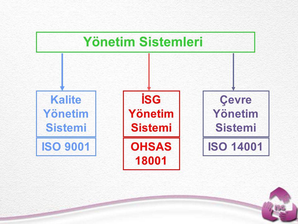 Yönetim Sistemleri İSG Yönetim Sistemi Çevre Yönetim Sistemi Kalite Yönetim Sistemi OHSAS 18001 ISO 14001ISO 9001