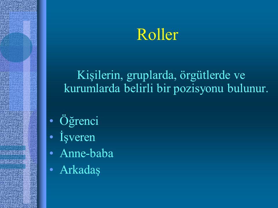 Roller Kişilerin, gruplarda, örgütlerde ve kurumlarda belirli bir pozisyonu bulunur.