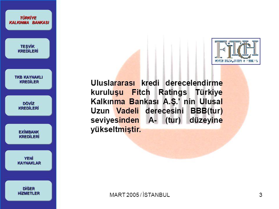 MART 2005 / İSTANBUL14 TÜRKİYE KALKINMA BANKASI KALKINMA BANKASI TEŞVİK KREDİLERİ KREDİLERİ TKB KAYNAKLI TKB KAYNAKLI KREDİLER KREDİLER DÖVİZ KREDİLERİ YENİ KAYNAKLAR KAYNAKLARDİĞERHİZMETLER AKKB AYB  Amacı: Yatırım Teşvik Belgesine Sahip yatırımcıların belge kapsamında yurt içi ve yurt dışı makine teçhizat yatırımlarının finansmanının sağlanmasıdır.