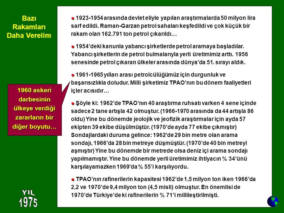 ● ● 1923-1954 arasında devlet eliyle yapılan araştırmalarda 50 milyon lira sarf edildi. Raman-Garzan petrol sahaları keşfedildi ve çok küçük bir rakam