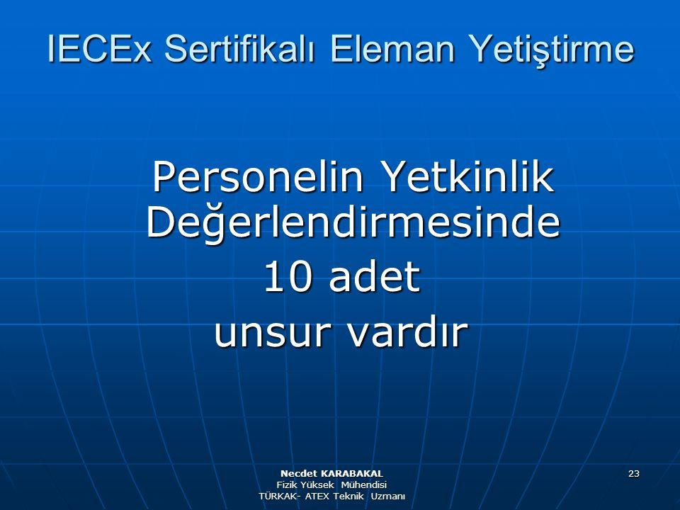 23 Personelin Yetkinlik Değerlendirmesinde 10 adet unsur vardır IECEx Sertifikalı Eleman Yetiştirme Necdet KARABAKAL Fizik Yüksek Mühendisi TÜRKAK- AT