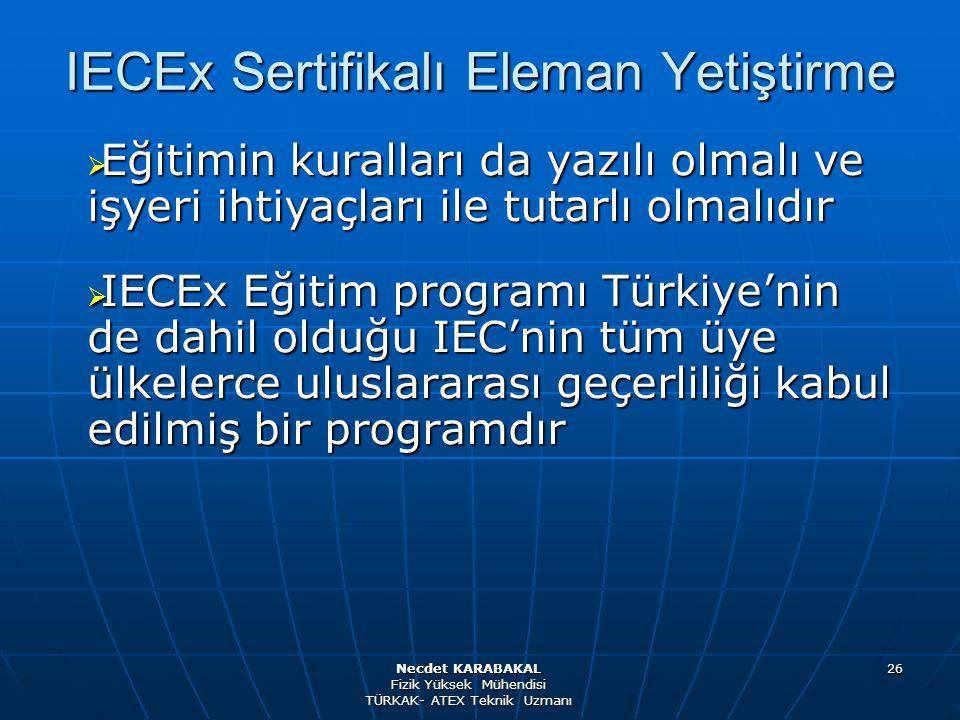 26 IECEx Sertifikalı Eleman Yetiştirme  Eğitimin kuralları da yazılı olmalı ve işyeri ihtiyaçları ile tutarlı olmalıdır  IECEx Eğitim programı Türki