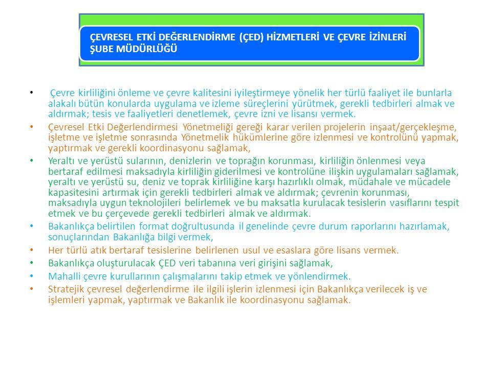 • Çevre kirliliğini önleme ve çevre kalitesini iyileştirmeye yönelik her türlü faaliyet ile bunlarla alakalı bütün konularda uygulama ve izleme süreçl