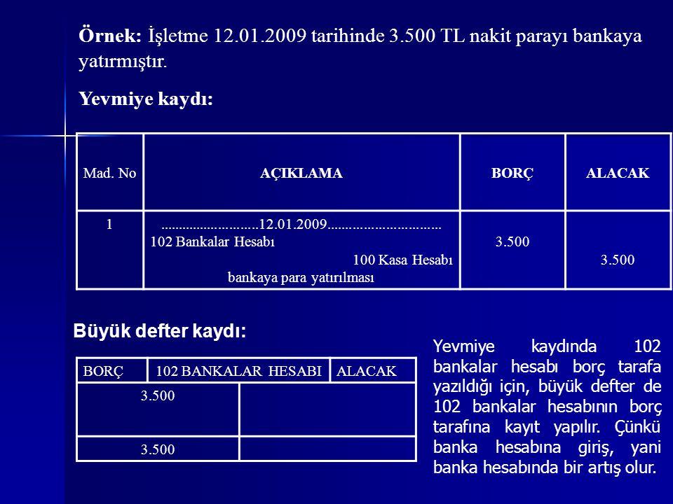 Örnek: İşletme 12.01.2009 tarihinde 3.500 TL nakit parayı bankaya yatırmıştır.