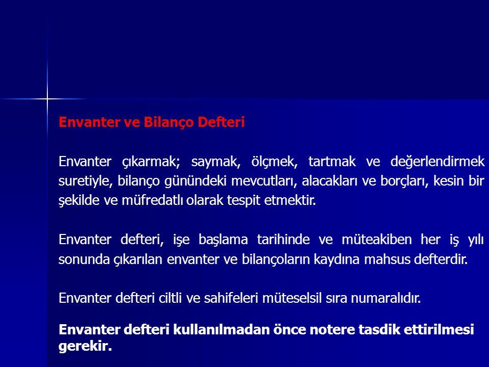 Envanter ve Bilanço Defteri Envanter çıkarmak; saymak, ölçmek, tartmak ve değerlendirmek suretiyle, bilanço günündeki mevcutları, alacakları ve borçları, kesin bir şekilde ve müfredatlı olarak tespit etmektir.