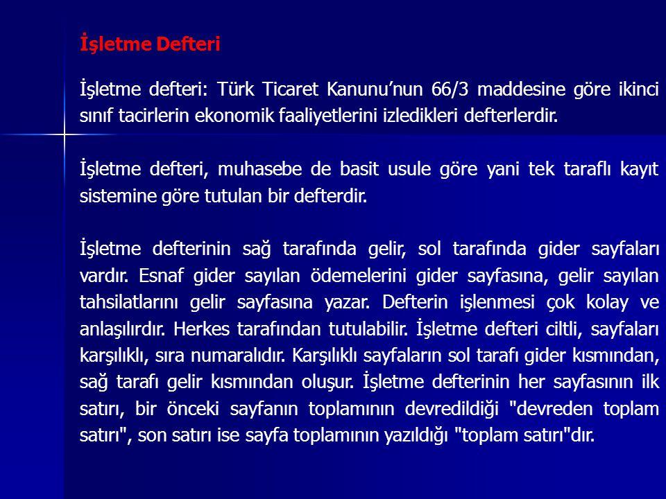 İşletme Defteri İşletme defteri: Türk Ticaret Kanunu'nun 66/3 maddesine göre ikinci sınıf tacirlerin ekonomik faaliyetlerini izledikleri defterlerdir.