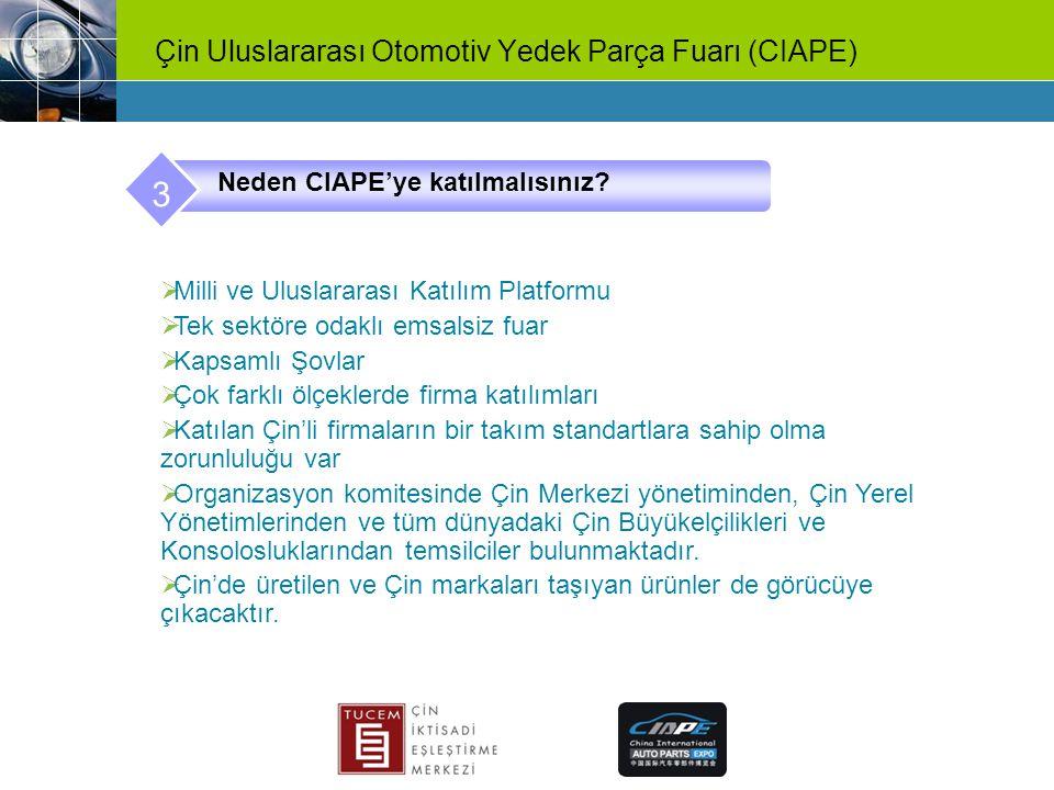 Çin Uluslararası Otomotiv Yedek Parça Fuarı (CIAPE) Neden CIAPE'ye katılmalısınız? 3  Milli ve Uluslararası Katılım Platformu  Tek sektöre odaklı em