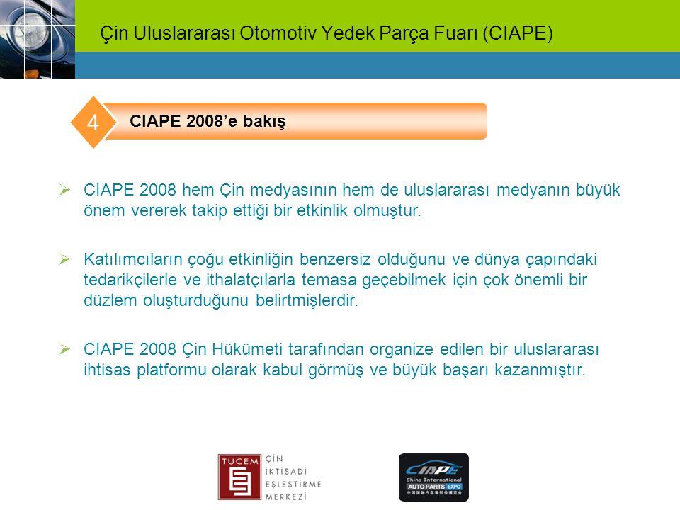 Çin Uluslararası Otomotiv Yedek Parça Fuarı (CIAPE)  CIAPE 2008 hem Çin medyasının hem de uluslararası medyanın büyük önem vererek takip ettiği bir e
