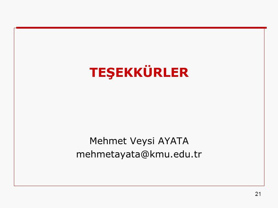 21 TEŞEKKÜRLER Mehmet Veysi AYATA mehmetayata@kmu.edu.tr