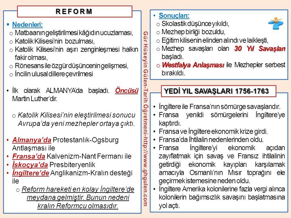 I.Yeni ticaret yollarının bulunması II. Rönesans ve reform hareketleri III.