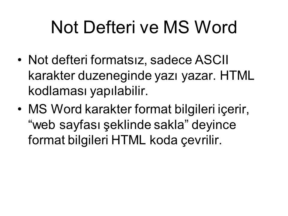Not Defteri ve MS Word •Not defteri formatsız, sadece ASCII karakter duzeneginde yazı yazar. HTML kodlaması yapılabilir. •MS Word karakter format bilg