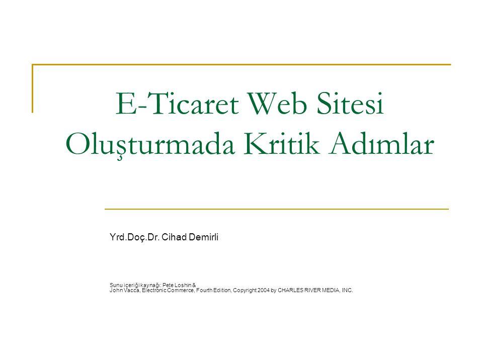 E-Ticaret Web Sitesi Oluşturmada Kritik Adımlar Yrd.Doç.Dr. Cihad Demirli Sunu içeriği kaynağı: Pete Loshin & John Vacca, Electronic Commerce, Fourth