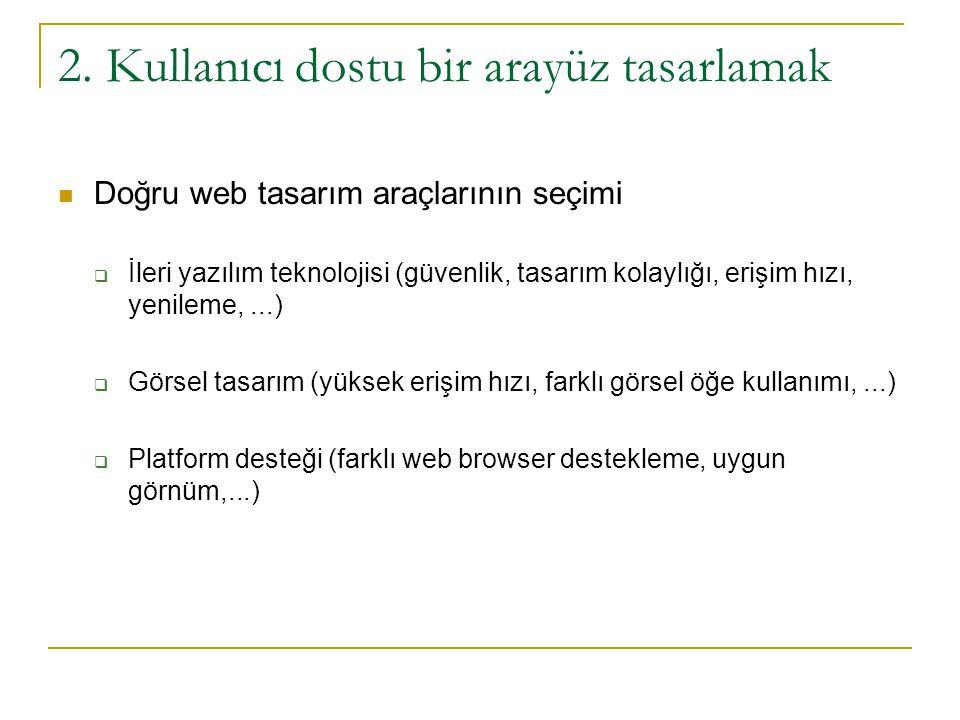 2. Kullanıcı dostu bir arayüz tasarlamak  Doğru web tasarım araçlarının seçimi  İleri yazılım teknolojisi (güvenlik, tasarım kolaylığı, erişim hızı,