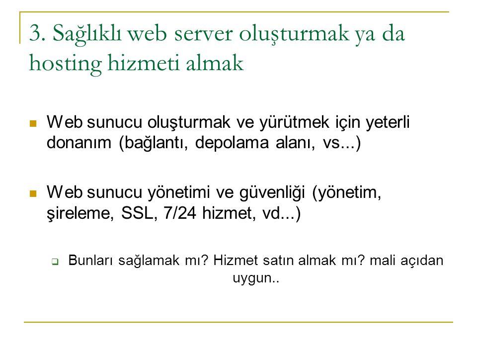 3. Sağlıklı web server oluşturmak ya da hosting hizmeti almak  Web sunucu oluşturmak ve yürütmek için yeterli donanım (bağlantı, depolama alanı, vs..