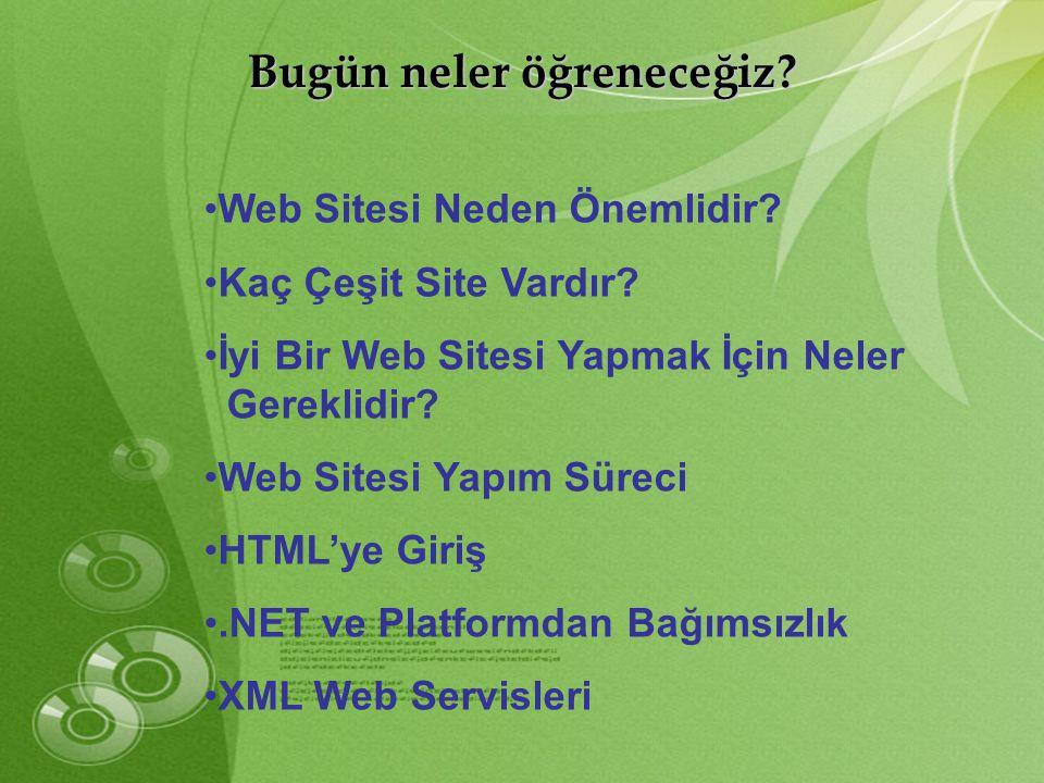 Bugün neler öğreneceğiz? •Web Sitesi Neden Önemlidir? •Kaç Çeşit Site Vardır? •İyi Bir Web Sitesi Yapmak İçin Neler Gereklidir? •Web Sitesi Yapım Süre