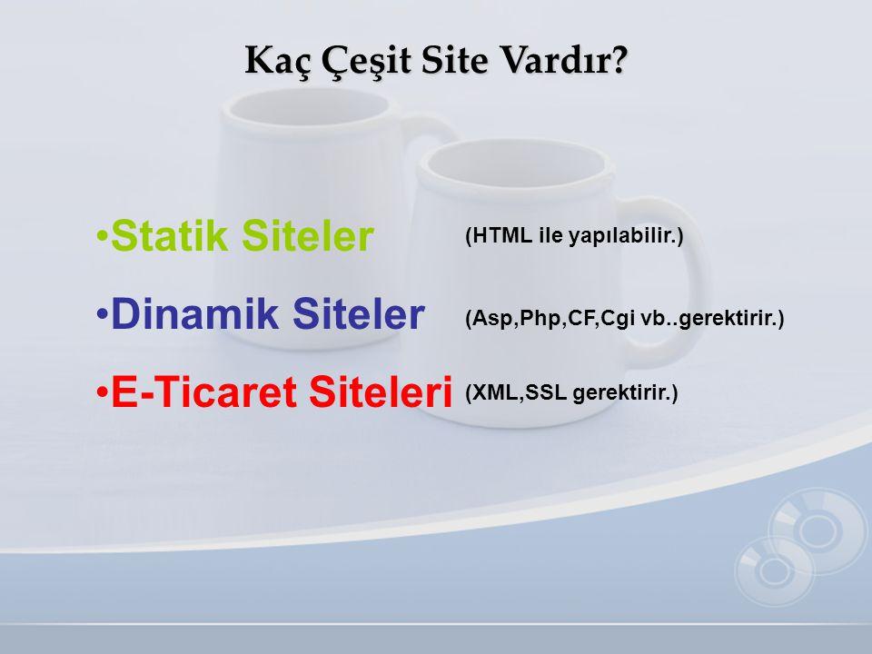 Kaç Çeşit Site Vardır? •S•Statik Siteler •D•Dinamik Siteler •E•E-Ticaret Siteleri (Asp,Php,CF,Cgi vb..gerektirir.) (HTML ile yapılabilir.) (XML,SSL ge