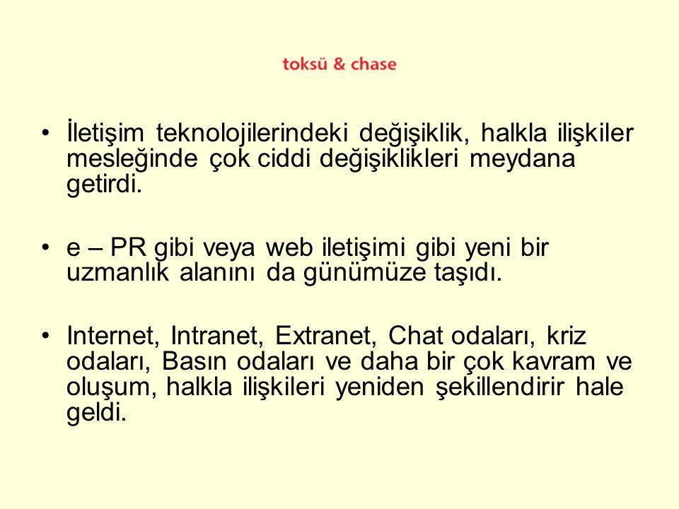 •İnternet, Halkla İlişkiler alanında kullanılan en önemli araçlardan biri.