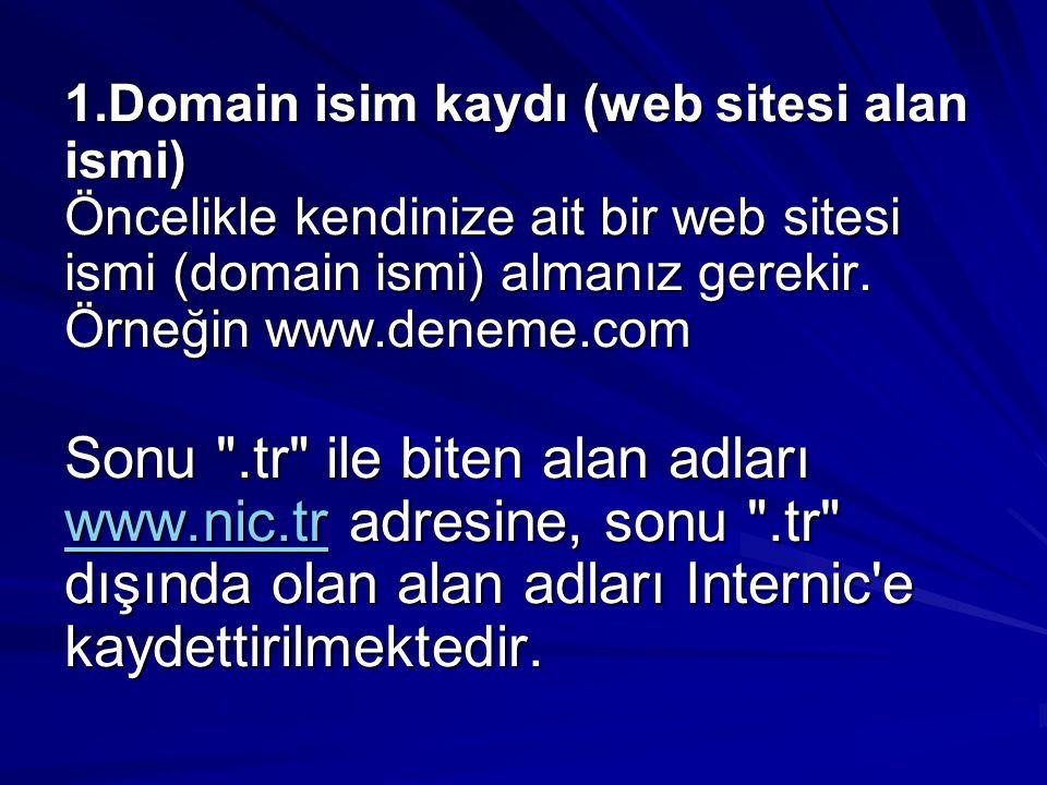 1.Domain isim kaydı (web sitesi alan ismi) Öncelikle kendinize ait bir web sitesi ismi (domain ismi) almanız gerekir. Örneğin www.deneme.com Sonu