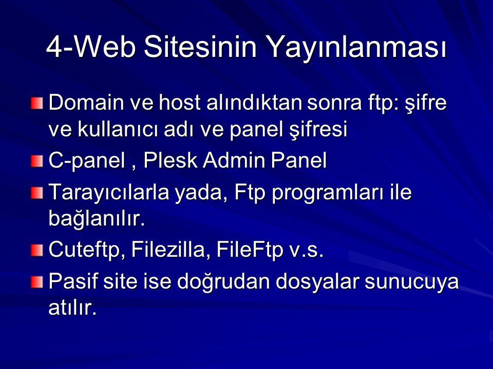 4-Web Sitesinin Yayınlanması Domain ve host alındıktan sonra ftp: şifre ve kullanıcı adı ve panel şifresi C-panel, Plesk Admin Panel Tarayıcılarla yada, Ftp programları ile bağlanılır.