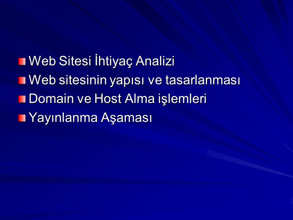 Web Sitesi İhtiyaç Analizi Web sitesinin yapısı ve tasarlanması Domain ve Host Alma işlemleri Yayınlanma Aşaması