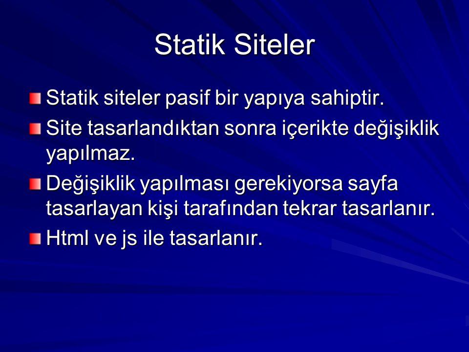 Statik Siteler Statik siteler pasif bir yapıya sahiptir.